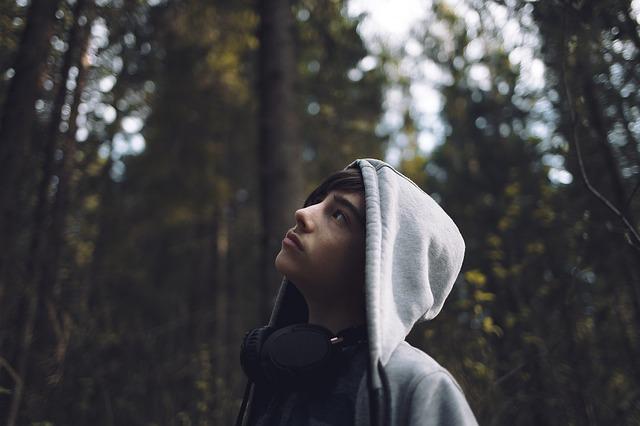 chłopak w bluzie z kapturem podziwia drzewostan